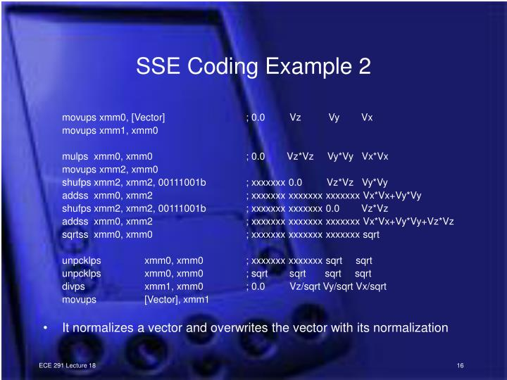 SSE Coding Example 2