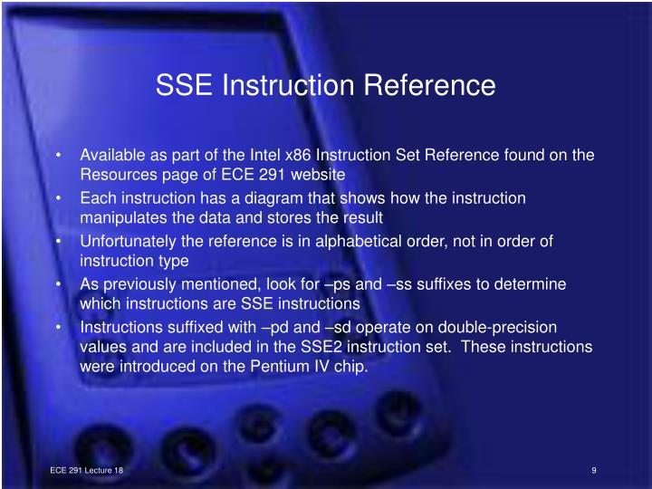 SSE Instruction Reference