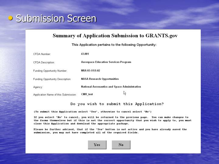 Submission Screen
