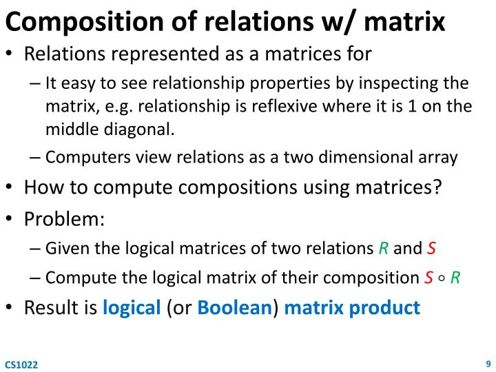 Composition of relations w/ matrix