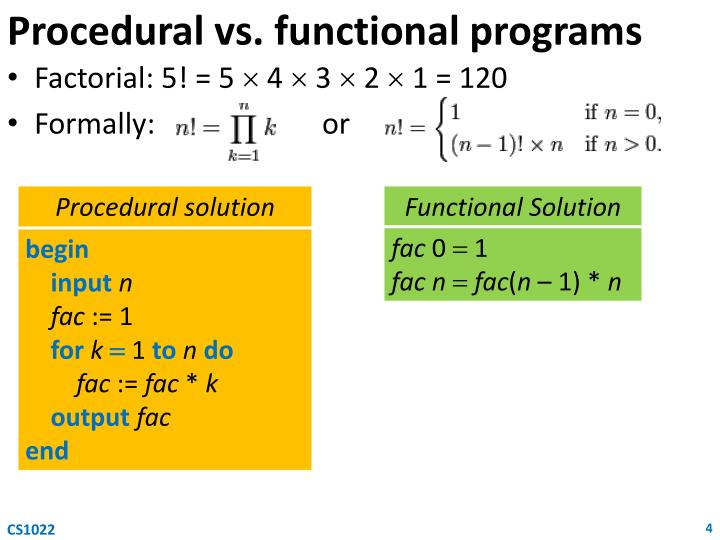 Procedural vs. functional programs