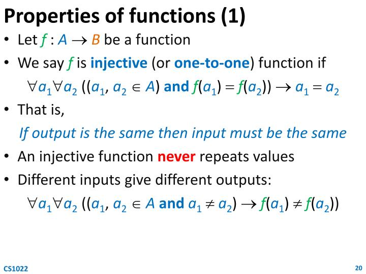 Properties of functions (1)