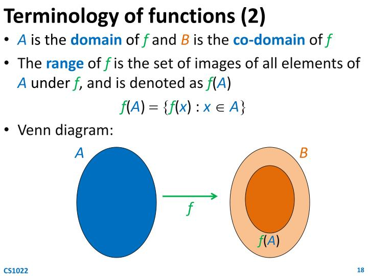 Terminology of functions (2)
