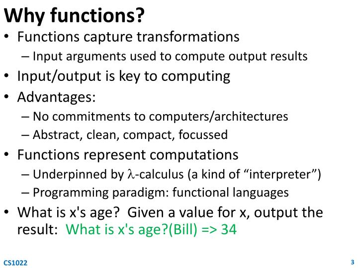 Why functions