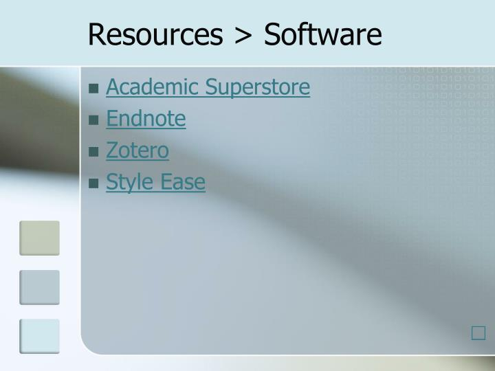Resources > Software