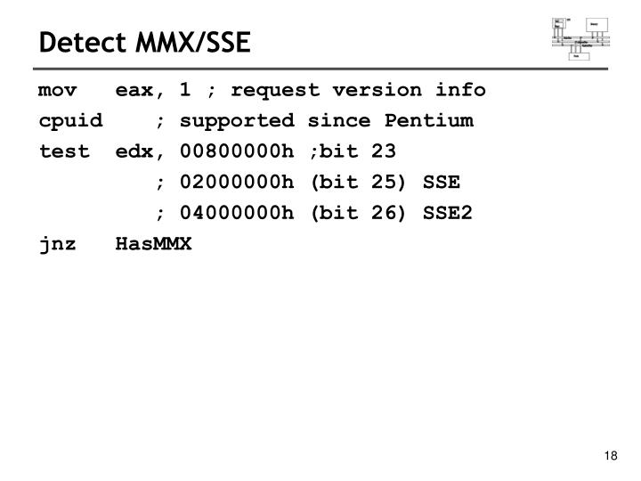 Detect MMX/SSE