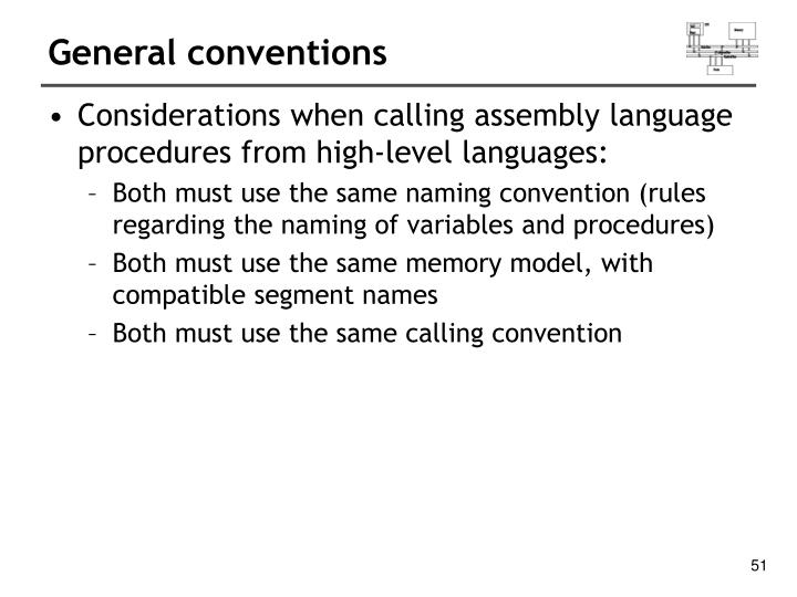 General conventions