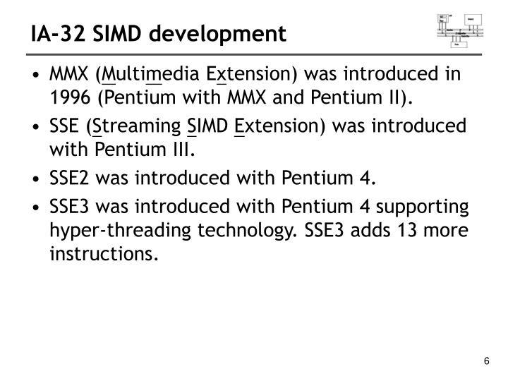 IA-32 SIMD development