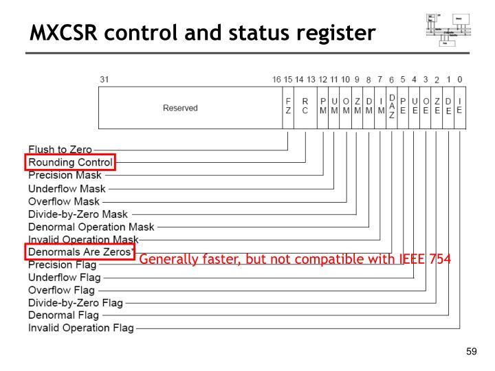 MXCSR control and status register