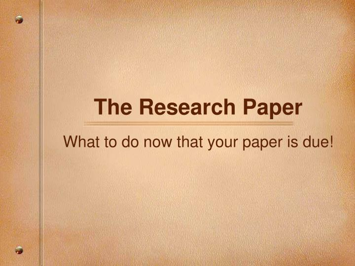 Idea For Research Paper