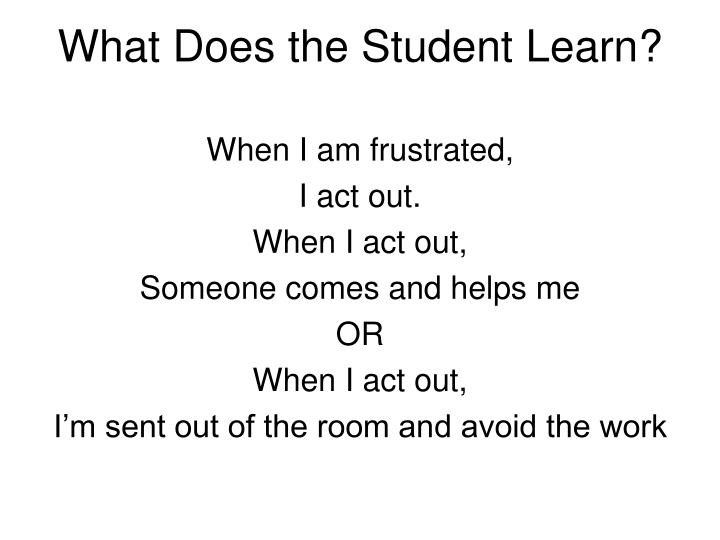 What Does the Student Learn?