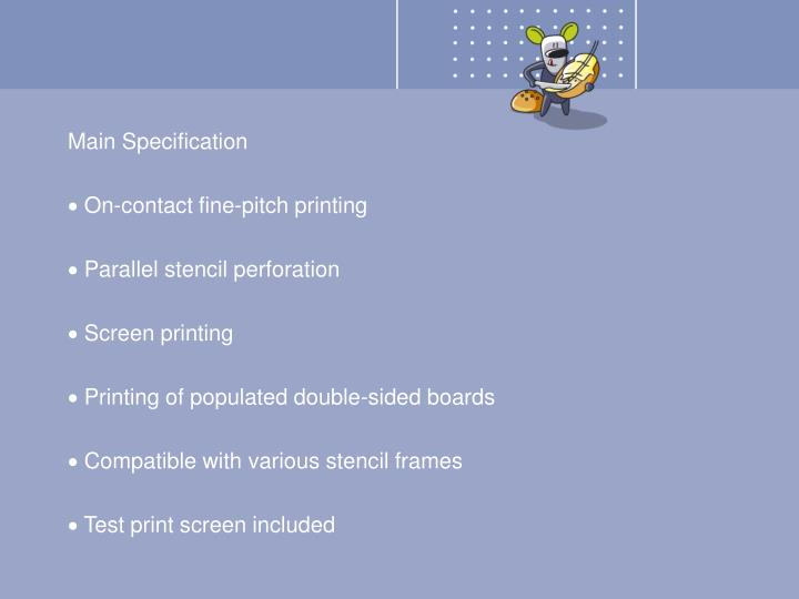Main Specification