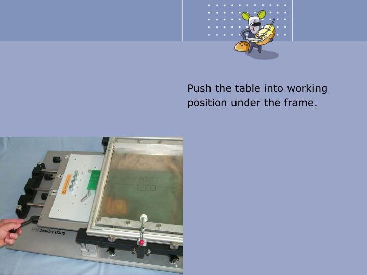 Push the table into working