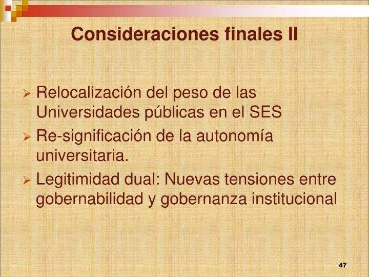 Consideraciones finales II