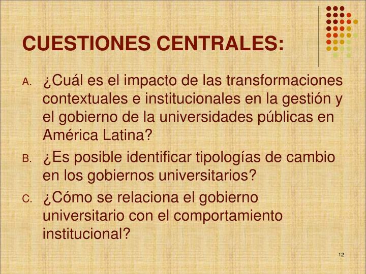 CUESTIONES CENTRALES: