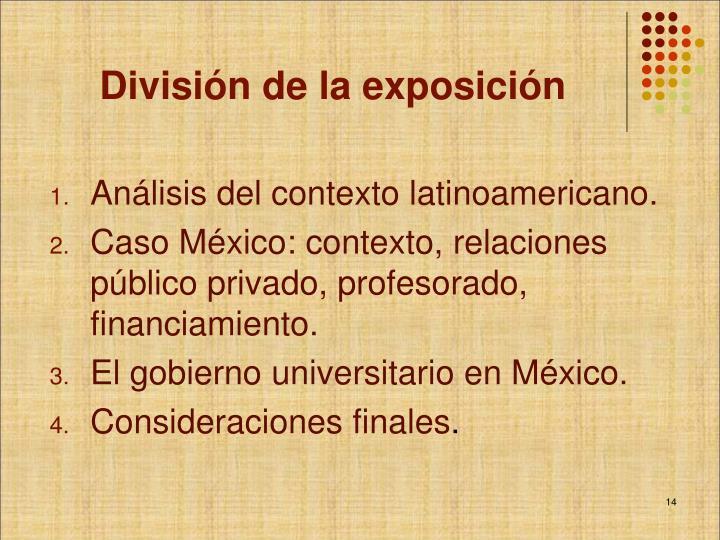 División de la exposición