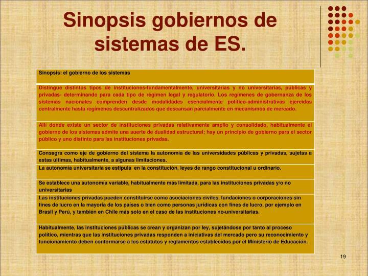 Sinopsis gobiernos de sistemas de ES.