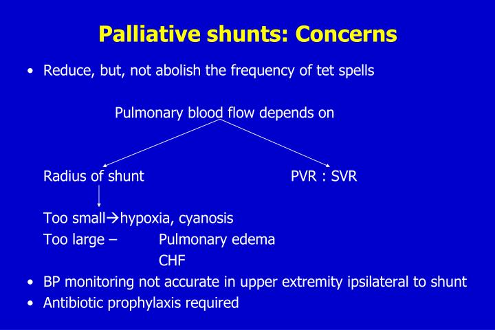 Palliative shunts: Concerns