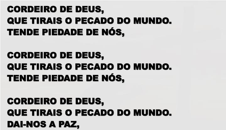 CORDEIRO DE DEUS,