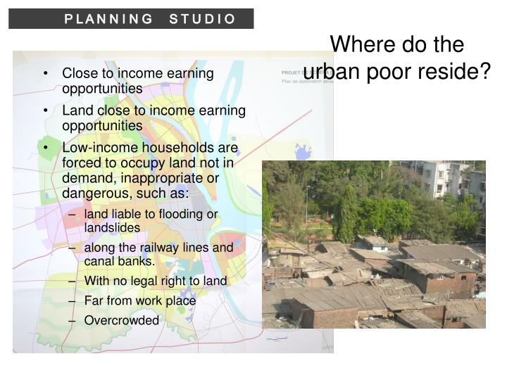 Where do the urban poor reside?