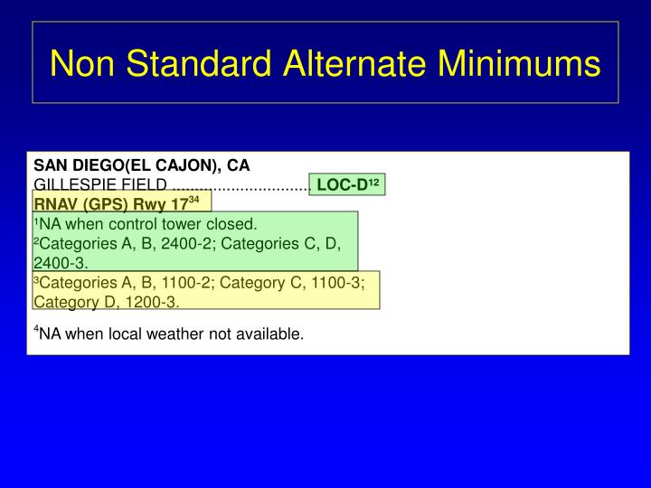 Non Standard Alternate Minimums