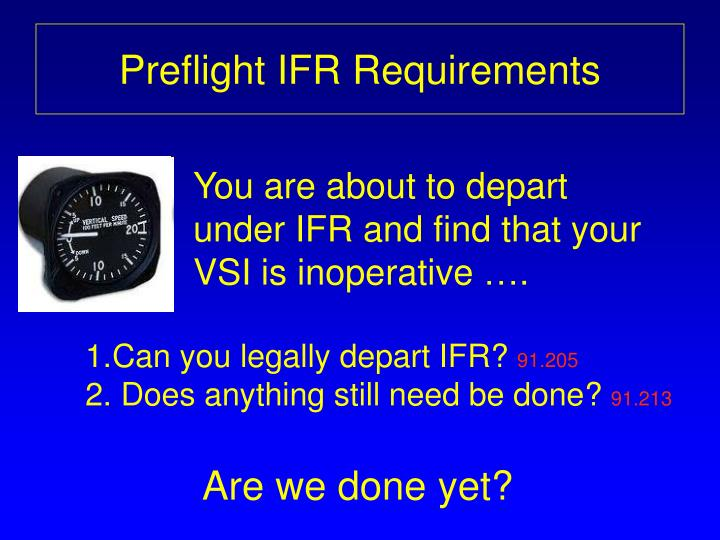 Preflight IFR Requirements