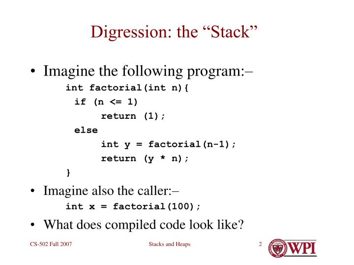 Digression the stack