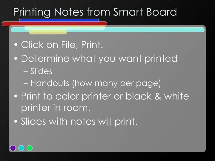 Printing Notes from Smart Board