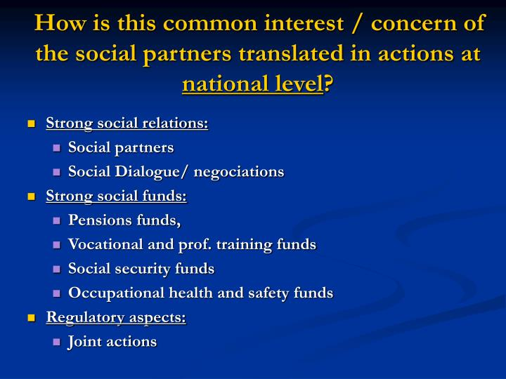 How is this common interest / concern of the social partners translated in actions at