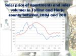 sales price of apartments and sales volumes in tallinn and harju county between 2 004 and 201 1