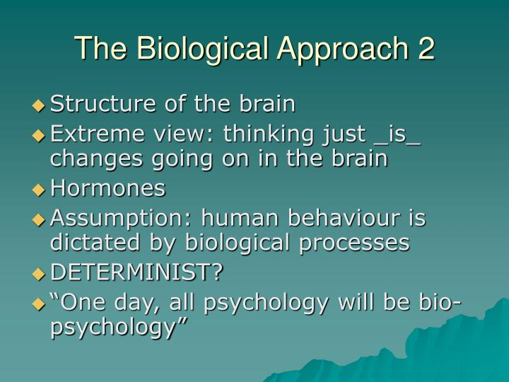 biological approach Can the biological approach explain our behavior decide for yourself with the  advantages and drawbacks of this approach.
