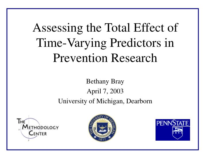 Assessing the total effect of time varying predictors in prevention research