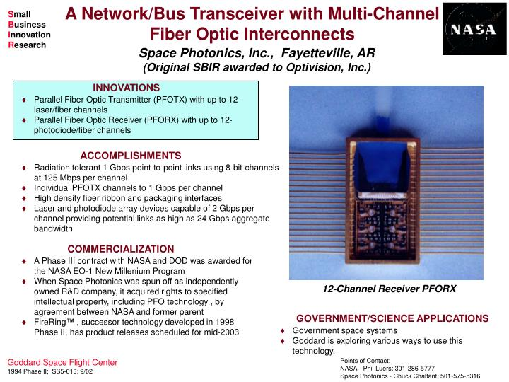 A network bus transceiver with multi channel fiber optic interconnects