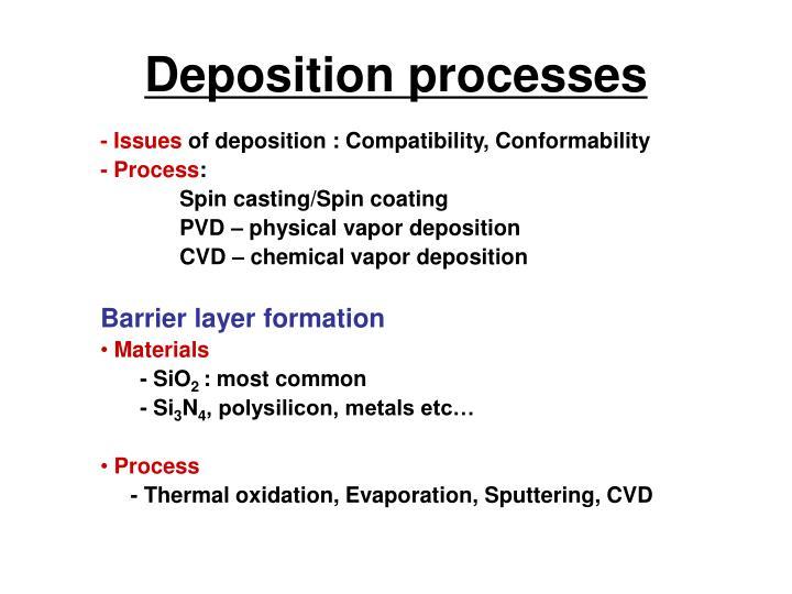 Deposition processes