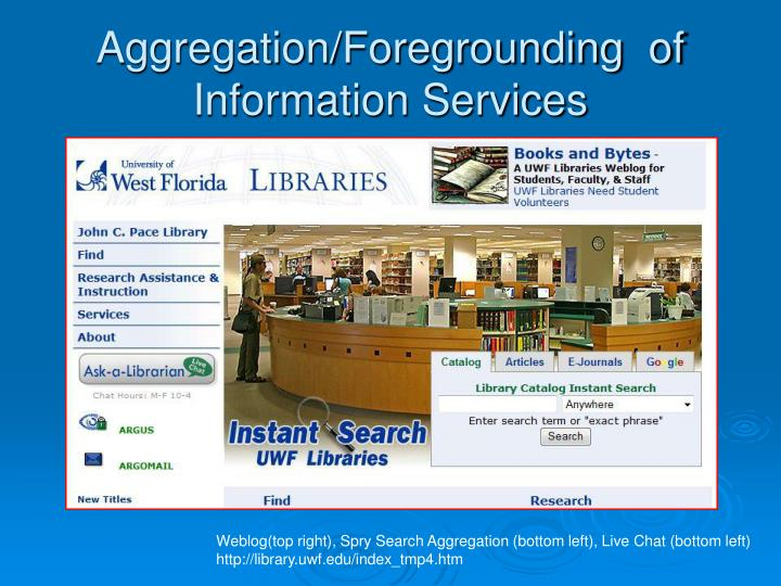 Aggregation/Foregrounding  of Information Services