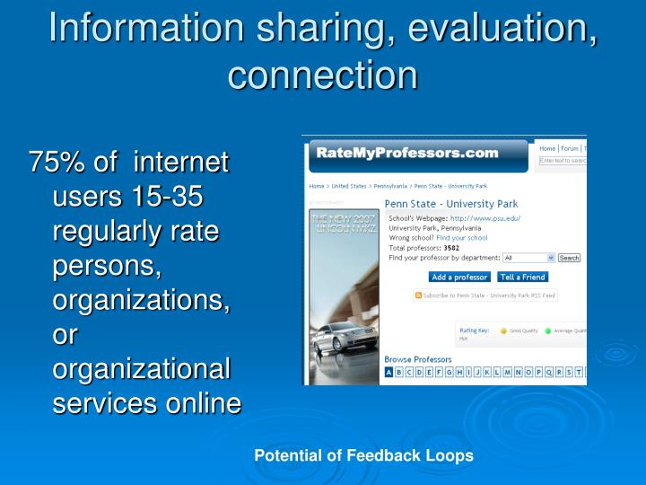 Information sharing, evaluation, connection
