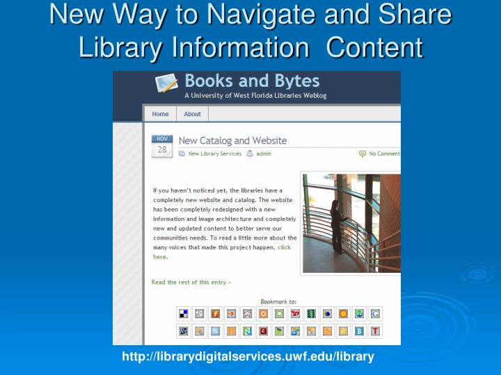 New Way to Navigate and Share Library Information  Content