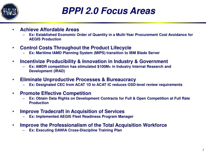 BPPI 2.0 Focus Areas
