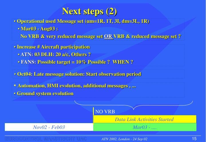 Next steps (2)