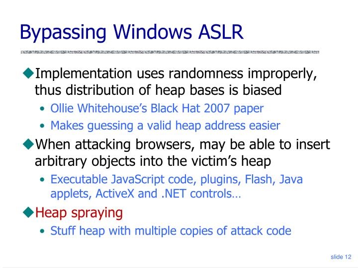 Bypassing Windows ASLR