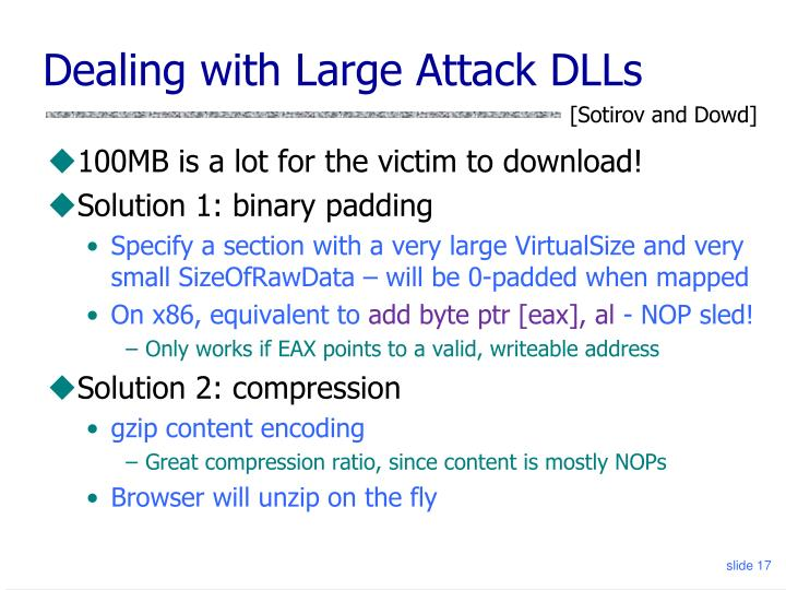 Dealing with Large Attack DLLs