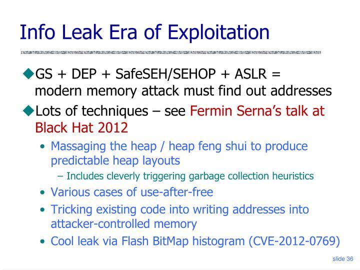 Info Leak Era of Exploitation