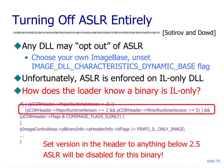 Turning Off ASLR Entirely