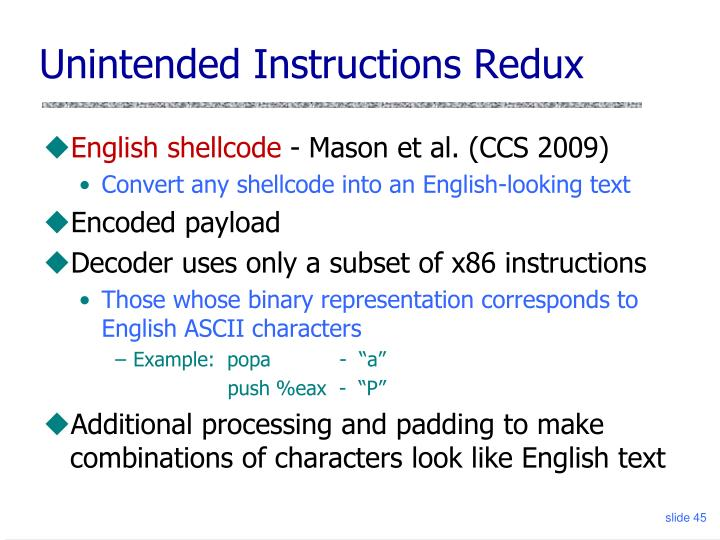 Unintended Instructions Redux