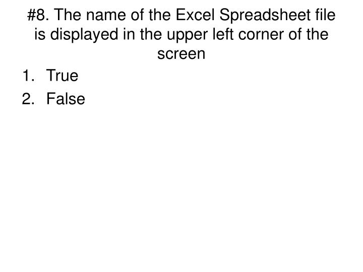 #8. The name of the Excel Spreadsheet file is displayed in the upper left corner of the screen