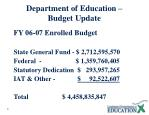 department of education budget update
