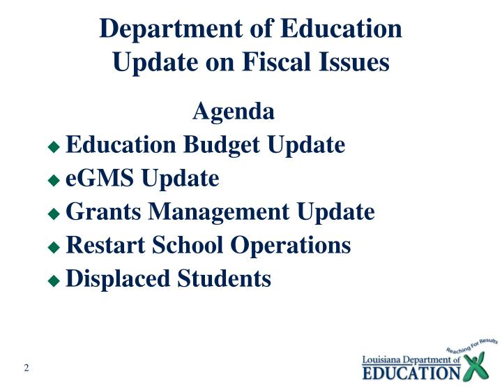 Department of education update on fiscal issues