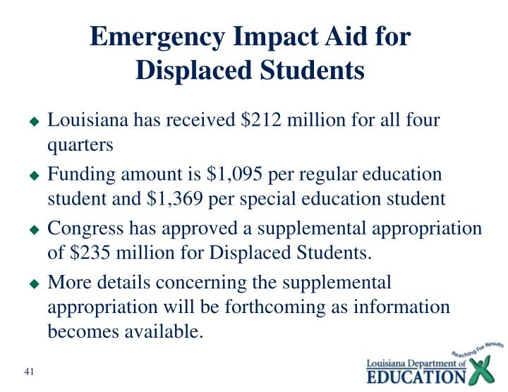 Emergency Impact Aid for Displaced Students