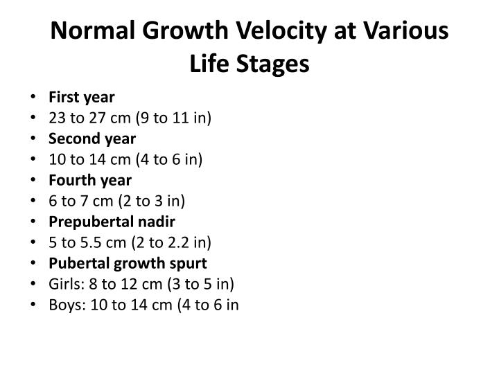 Normal Growth Velocity at Various Life Stages