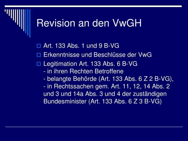 Revision an den VwGH